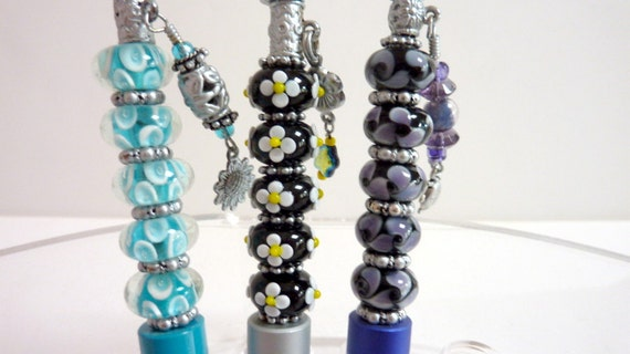 Glass Beaded Pens, Blue Silver Aqua Pens with Charm, Colorful Writing Utensils, Home Office Pen, Unique Gift