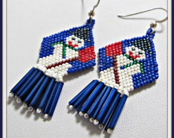 Snowman Earrings, Beadwoven earrings, Dangle earrings, Christmas Earrings, Holiday Earrings, Chandelier, Sterling Earwires