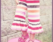 Stripe knit reverse ruffle capris Pink, Brown, Red, White, Orange Stripes 12 18 24 2 3 4 5 6 7 8