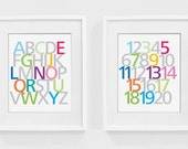 Letters and numbers 8 x 10 nursery wall art print - children's wall art, nursery decor, kids room, playroom, baby room, ABCs