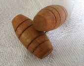 Set of 2 Small VINTAGE Wood Barrel Toggle BUTTONS