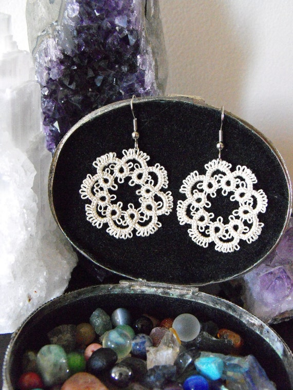 Beige Needle Tatted Antique Lace Victorian Earrings