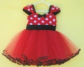 MINNIE MOUSE tutu  dress TUTU  Party Dress  in Red Polka Dots super twirly  dress 1st Birthday party