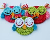 Crochet Owl Appliques - Sleepy owls Set of 3