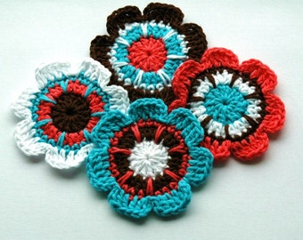 Crochet Applique Motifs Retro Flowers - Brown Coral White Peacock Blue