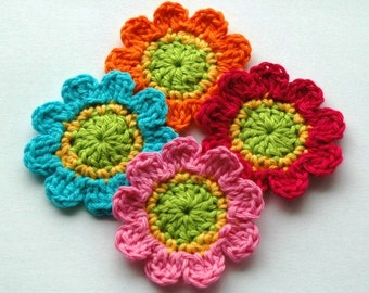 Crochet Flower Motifs in Lime Yellow Pink Orange and Blue