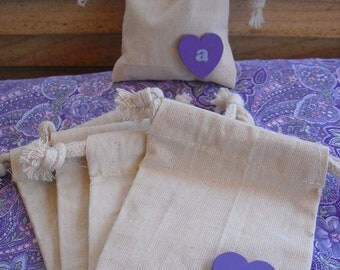 Favor Bags - SET OF 10 Initial Heart  Muslin Wedding Favor Bag Candy Buffet Bag or Gift Bag - Item 1418