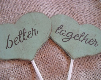 Cake Topper - Better Together Shabby Chic Hearts - Item 1452