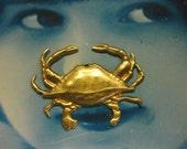 Raw Brass Large Sea Crab Stamping Pendants 2109RAW x2