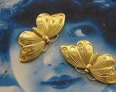 Natural Raw Brass  Butterfly Stamping Pendant Bent with holes or Straight 2169RAW  x2