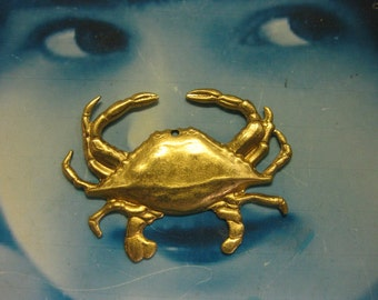 Raw Brass Large Sea Crab Stamping Pendants 2109RAW x2