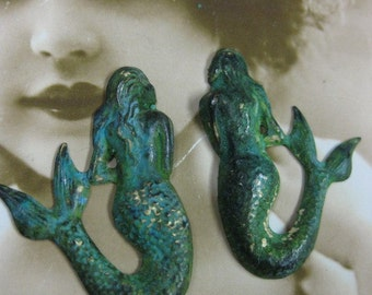 Verdigris Patina Large Mermaid No Holes  Pendant 794VER x2