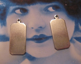 Silver Ox Plated Brass Octagon Shape Tags 206SOX x2