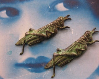 Verdigris Patina Brass Cricket Grasshopper Stampings with or without hole 2177VER x2