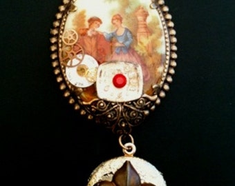 Steampunk Victorian Fantasy Painted Porcelain Cameo Locket