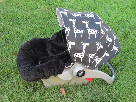Infant Car Seat Cover, Baby Car Seat Cover Infant Car Seat Cover- the Baby Giraffe in Black and White