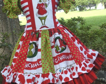 Made to Order Custom Boutique Dr Seuss Fabric Grinch Christmas Dress Girl 2 3 4 5 6 7 8
