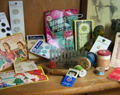 Vintage Sewing Ephemera Lot  Notions Threads Needle Cases Buttons Tools