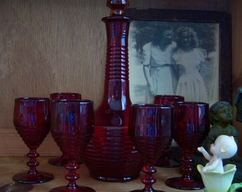 Paden City Penny Line Wine Decanter and Goblets Ruby Glass