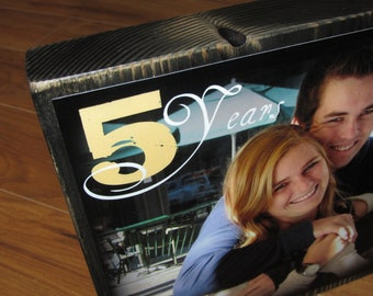 5th Wedding Anniversary- WOODEN gift- EXTRA Large Photo Blocks- 9 inch square