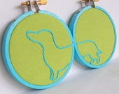 Dachshund embroidery hoop wall art. Hand embroidery home decor. Office decor. Dorm decor.