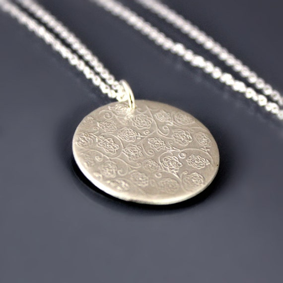 Rose Garden Necklace - Brushed Sterling Silver Pendant