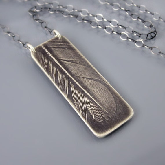 Small Feather Necklace - silver feather jewelry