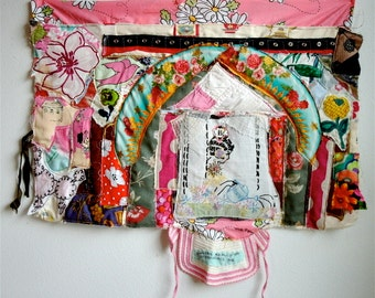 COTTAGE GARDEN FLOWERS Collage Embroidery Fabric Scraps Applique Crazy Quilt Patchwork --myBonny