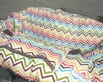 Shopping cart cover for boy or girl Chevron Bermuda Shower Gift Set Blue Shopping Cart Cover with Burp Cloths