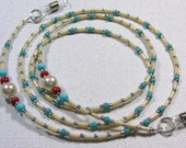 High Noon -Pearl, Red, turquoise beaded Eyeglass holder, Leash. CLEARANCE