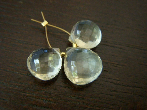 Scapolite Faceted Hearts - Trio - 8.5 to 10mm