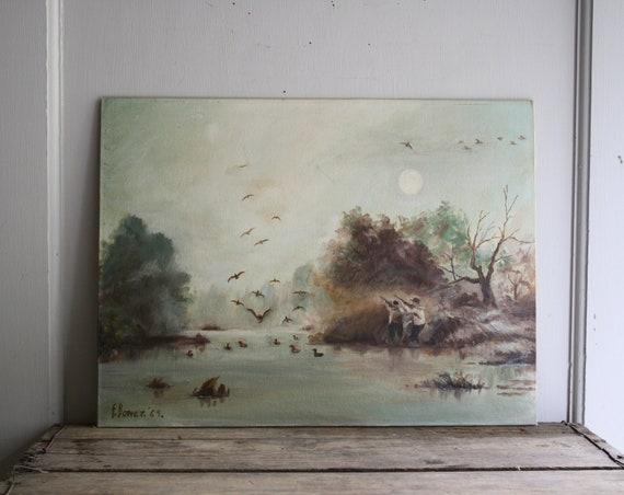 vintage hunt scene landscape painting