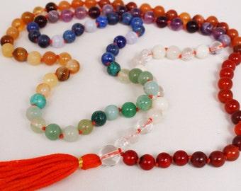 Rainbow Mala Necklace - Handknotted Semiprecious Stone Mala Prayers Beads