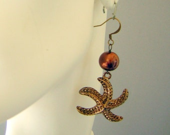 Happy Swinging Starfish Pearl Earrings - Chocolate Brown - Beach Theme CLEARANCE