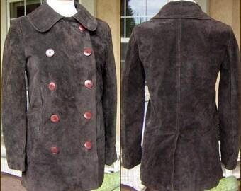 Vintage Calvin Klein Suede Leather Jacket Pea Coat 70s Dark Brown - Size 10