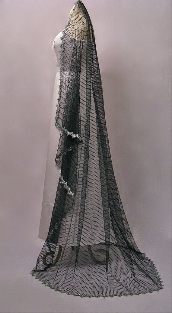 Black Waltz Length Wedding Veil With Silver Lace And Crystals