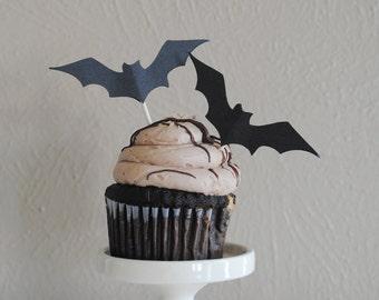 Halloween Bat Cupcake flags - Set of 12