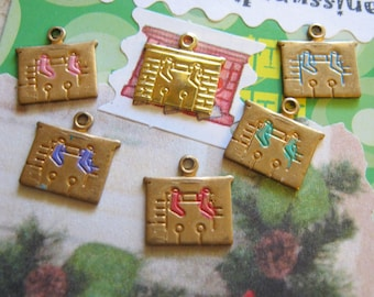 Brass Christmas Fireplace Charms