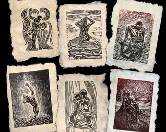 6 Woodcut Prints Original Art Collector's Set Unique Classic Figures Handmade Paper