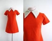Vintage Mini Dress . Color block . Pumpkin Orange . XS