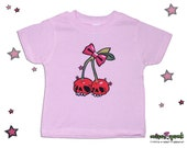 Cherry Skulls Rockabilly Baby and Toddler PINK T shirt