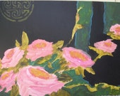 Black and pink roses print