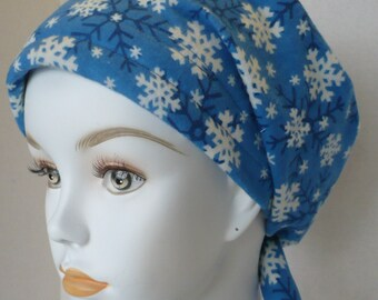 Snow Flakes on Soft Warm Flannel Chemo Cancer Hairloss Scarf Turban Hat Headwrap