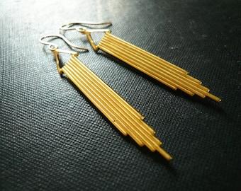 Long Gold Art Deco Earrings - Simple Geometric Earrings