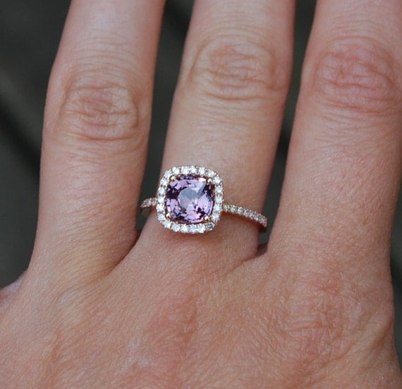 1.83ct Square Cushion color change Sapphire ring 14k rose gold ring diamond ring  Engagement Ring peach lavender