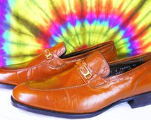 11 C mens vintage brown FLORSHEIM IMPERIAL leather loafers shoes NOS