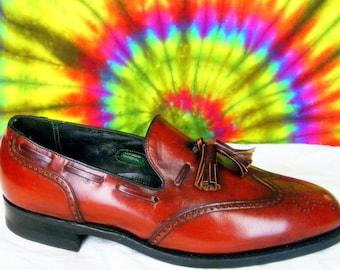 8.5 C mens vintage FLORSHEIM IMPERIAL wing-tip tassel loafers burgundy leather shoes