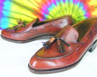 8 D mens vintage FLORSHEIM IMPERIAL tassel loafers brown leather shoes