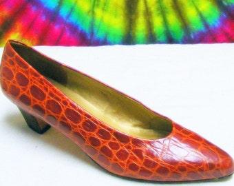 7.5-8 vintage 80's ladies brown moc croc leather EVAN PICONE heels pumps shoes