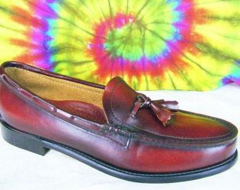 11 B mens vintage burgundy leather tassel loafers REGAL shoes NOS 11 narrow